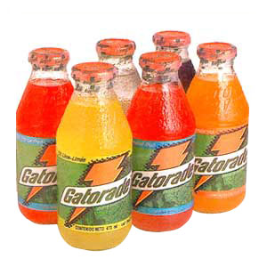Gatorade in glass bottles.  The way a drink should be packaged.