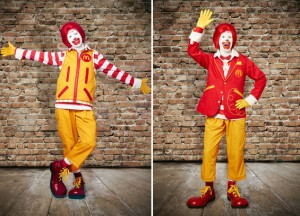 The new and improved Ronald McDonald.  It should be noted that he still wears the original fire engine red merkin from 1963.