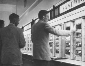 The automat.  The original fast food with homestyle cooking.  Inflation during the 70s and fast food chains like McDonalds killed them off.  Click the image for an article from the Smithsonian.