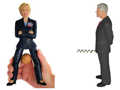 Hillary Clinton nutcracker and Bill Clinton corkscrew from Urban Outfitters.